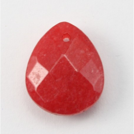 Jade colored red  Flat Teardrop faceted  12*15mm X 1pc