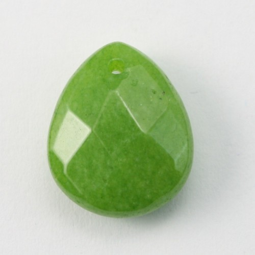 Jade colored green grass  Flat Teardrop faceted  12*15mm X 1pc