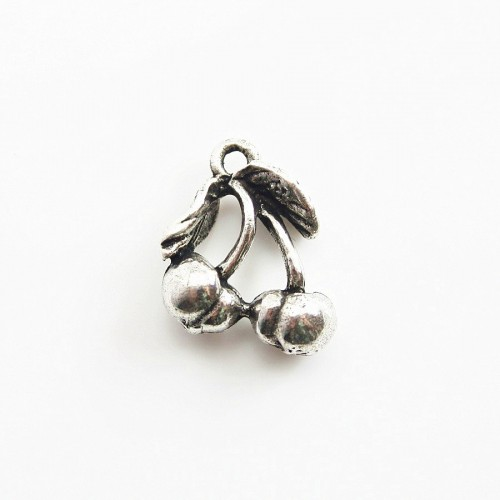 Cherry charm old silver tone 15mm x 2 pcs