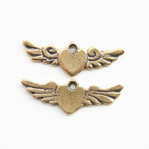 Heart with wing charm bronze tone 23*8mm x 2 pcs