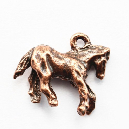 Horse charm old copper tone 15*18mm x 1 pc