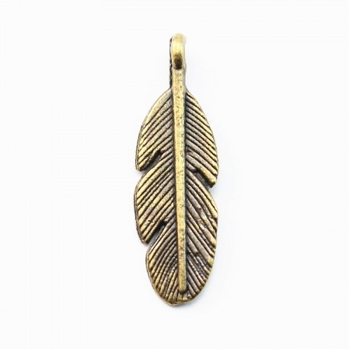 Plume charm bronze tone 10*30mm x 2 pcs