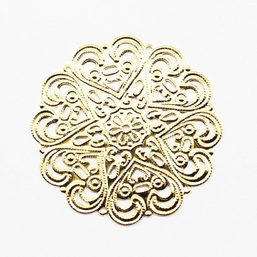 Round Filigreed gold tone 44mm x 1pc
