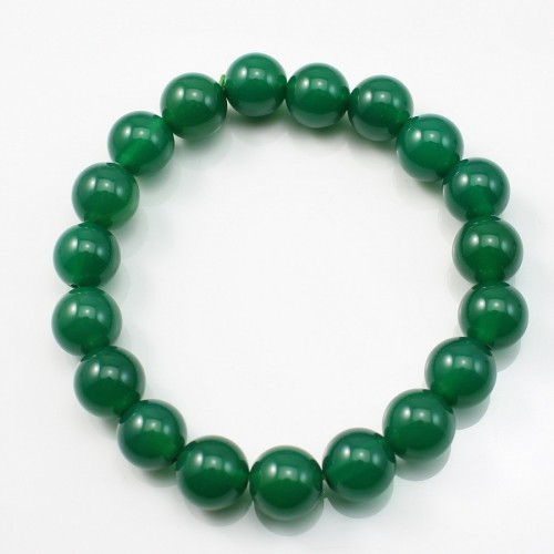 Bracelet  green agate  round  10mm