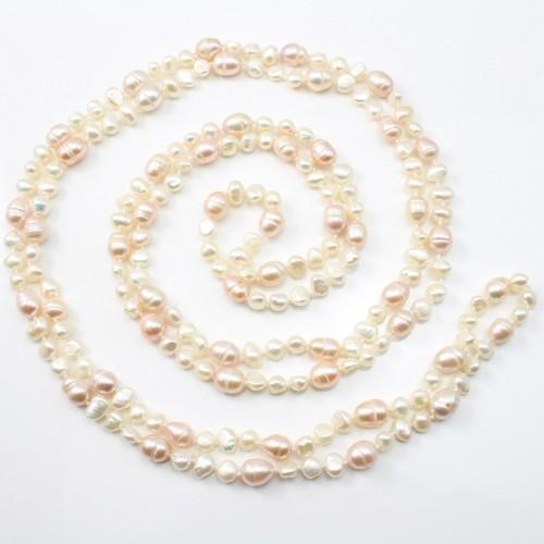 Sautoir Perle D'eau Douce blanc &saumon 160cm