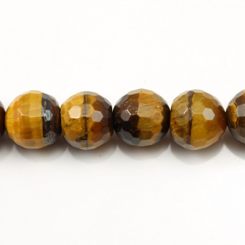Yellow Tiger Eye Faceted Round 12mm x 40cm