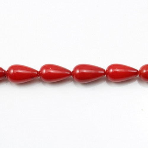 Red colored Teardrop sea bamboo 7*11mm x 40cm