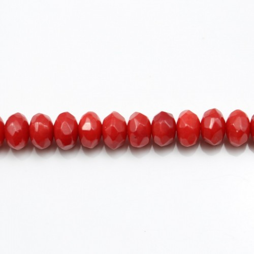 Red colored Faceted Rondelle sea bamboo  4*6mm X 40cm