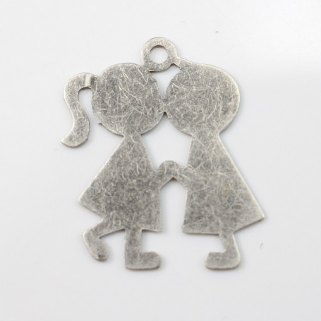 Kiss boy&girl charm old silver tone 2*2.5mm x 1 pc