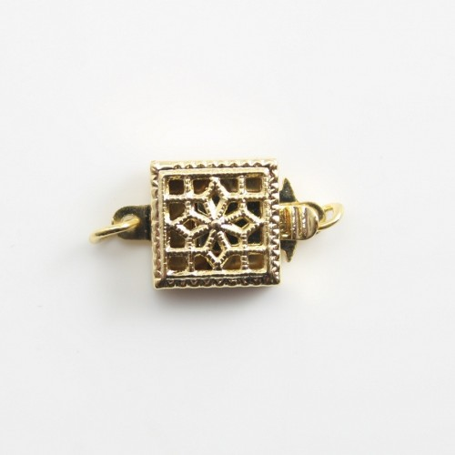 Golden tone Clip-on clasp ,square tracery,8.5mm x1pc