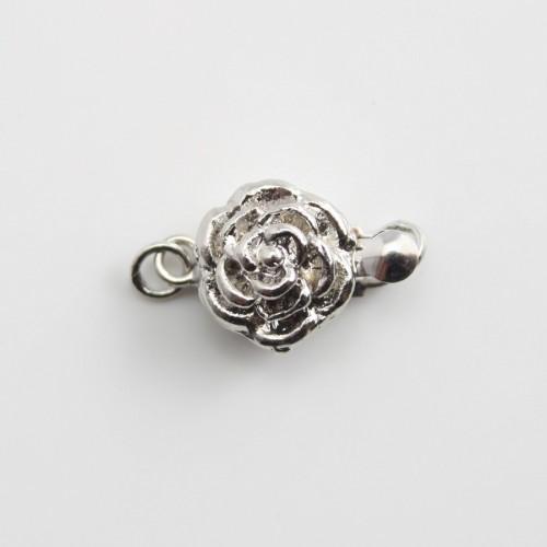 Fermoir clipser,rose,argenté ,9.5mm x 1 pc