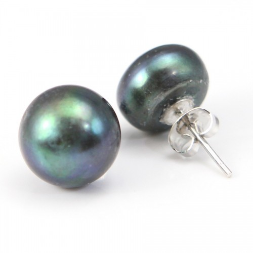 Earring  silver 925 white Freshwater Pearl 12mm X 2pcs