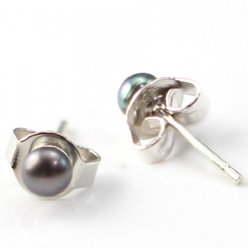 Boucle d'oreille argent 925 perle de culture d'eau douce 4mm X 2 pcs