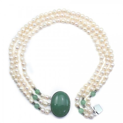 Necklace Torsade Freshwater Pearl & cabochon Aventurine