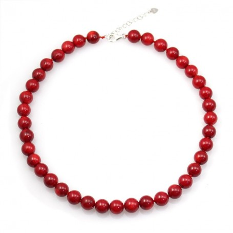 Simple Tinted Red Bamboo Sea Necklace