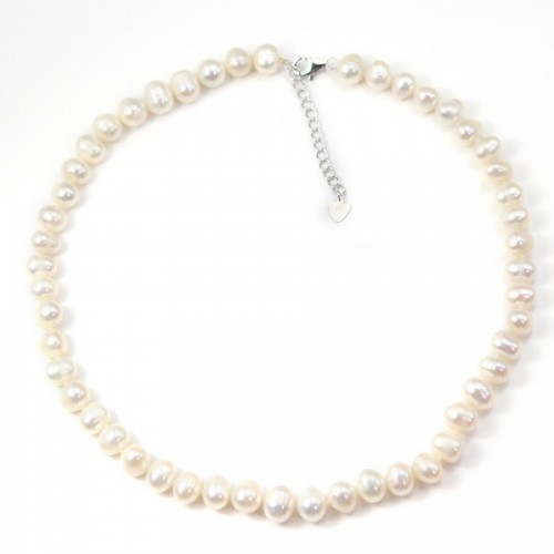Simple Necklace  white Pearl Freshwater 8-9mm