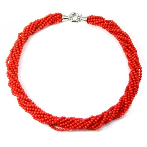 Necklace Torsade Red Bamboo Sea 9 stands
