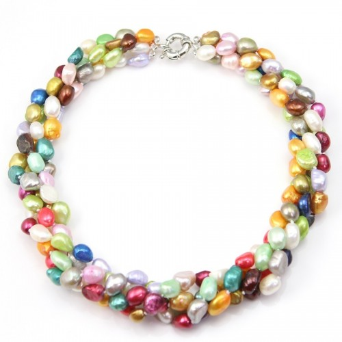 Necklace torsade Freshwater Pearl Multicolor 4 stands