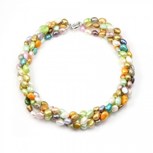 Necklace Torsade Freshwater Pearl Multicolored 4 stands