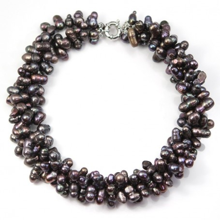 Necklace Torsade Dark Brown Freshwater Pearl  3 stands