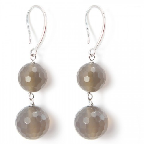 Earring silver 925 AGATE GRISE X 2 pcs
