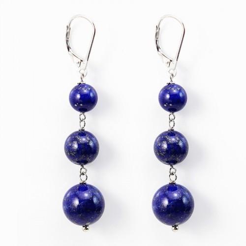 Boucle d'oreille argent 925 lapis lazuli  X 2pcs