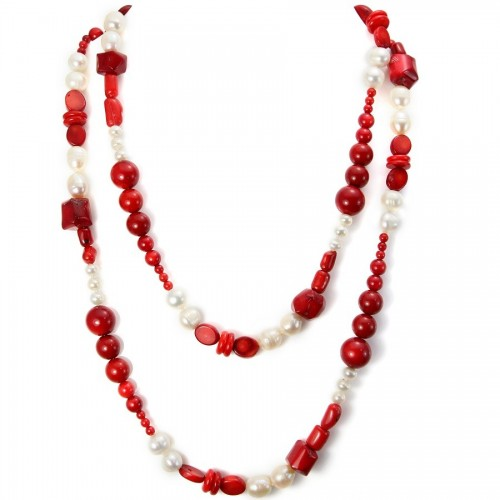 Freshwater Pearl & Black Agate Necklace  X 90cm