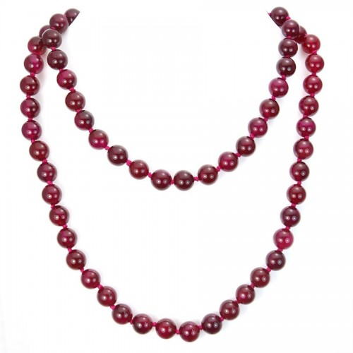 Necklace agate tinted fuchsia 10mm 90cm