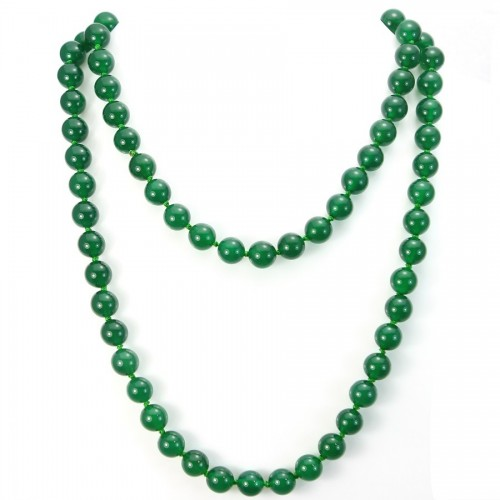 Necklace green agate 10mm 90cm