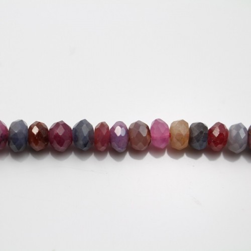 Ruby Sapphire Faceted Roundel 4*5mm