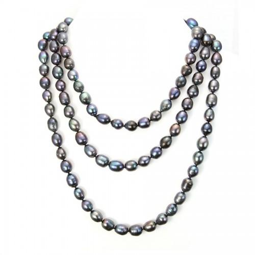 Sautoir perle d'eau douce bleu fonce 11-13mmX 140cm