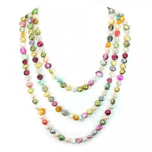 Sautoir Perle D'eau Douce Multicolore 160cm