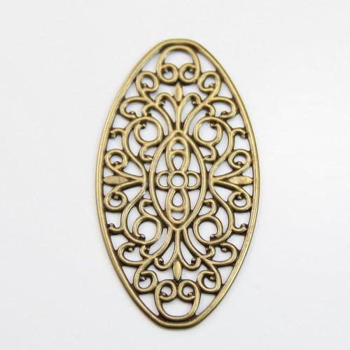 Ovale Filigreed Skeleton bronze tone 27*50mm x 2pcs