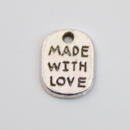 Charms message made with love silver 8*11mm x 4pcs