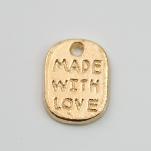Charms message made with love golden 8*11mm x 4pcs
