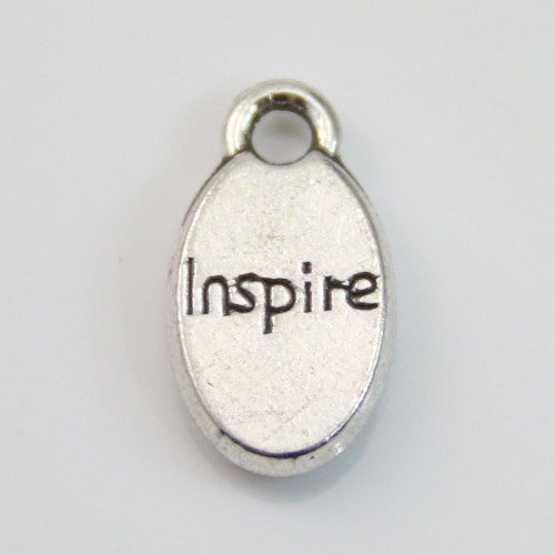 Charms message inspire silver 9*15mm x 4pcs