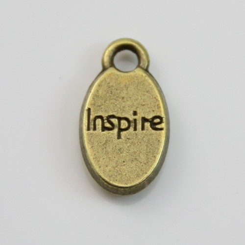 Charms message inspire bronze 9*15mm x 4pcs