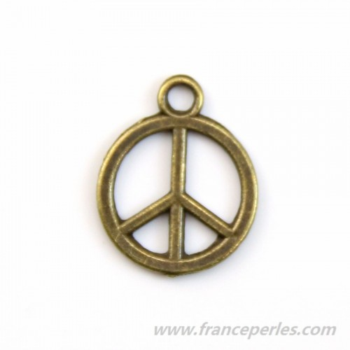Peace & love charm bronze  tone 12mm x 4pcs
