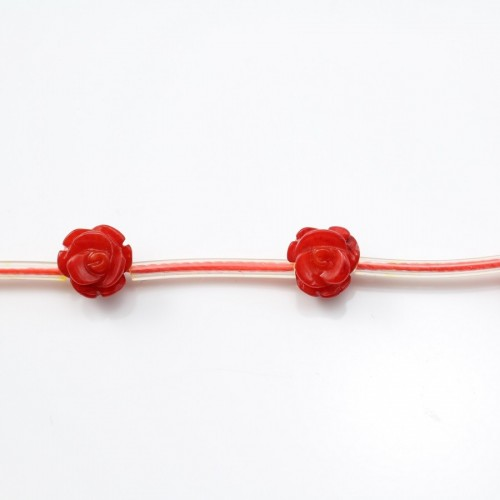 Red colored flower sea bamboo 8mm X 40cm (14pcs)