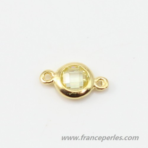 Spacer sterling silver 925 golden and  citrine zirconium 5*9mm x 1pc