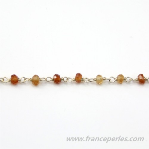 Silver Chain with Hessonite  of 3.5-3mm x 20cm