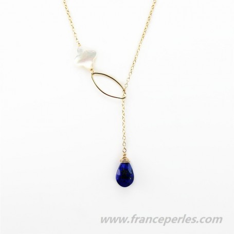 Necklace lapis lazuli and white shell gold filled 14 carats