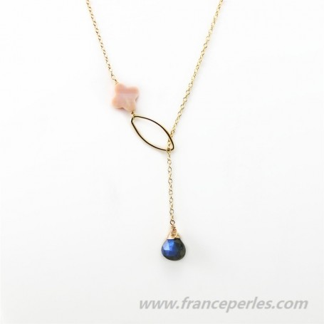 Necklace labradorite  and rose shell gold filled 14 carats