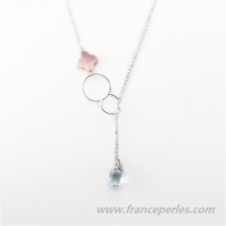 Necklace topaze and rose shell with chaine sterling silver 925