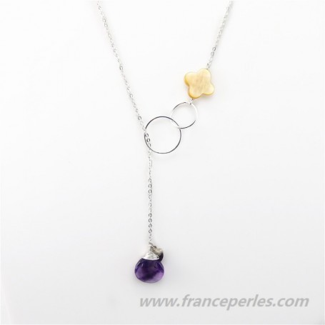 Necklace amethyste and yellow shell  with chaine sterling silver 925