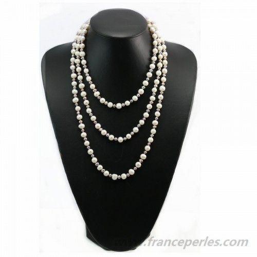 White and gray freshwater pearl necklace 160cm