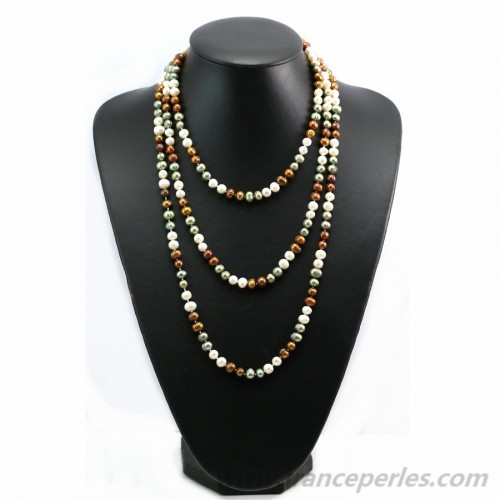 Multicolor green marron  freshwater pearl necklace 160cm