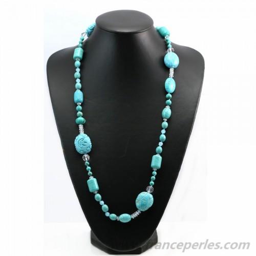 Reconstitute turquoise nacklace 100cm