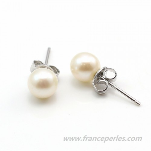 Earring  silver 925 white Freshwater Pearl 6.5-7mm x 2pcs