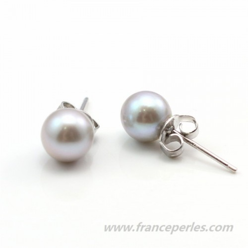 Earring  silver 925 grey Freshwater Pearl 6.5-7mm x 2pcs
